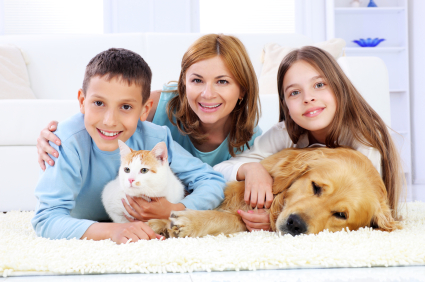 Family enjoyment of mother with children and pets - Garden grove dog and cat hospital ...